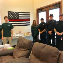 Thanksgiving Potluck: Pictured L-R Henry Satel, Sam Spezia-Lindner, Ava Satel, Drew Garcia, Capt. Tom Montes and Justin Polen